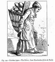 Street singer carrying a basket of bread